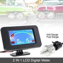 12V 24V Car Volt Meter Universal 2 In 1 LCD Digital Gauge +Oil Fuel with Sensor Auto Instrument for Truck Vehicle