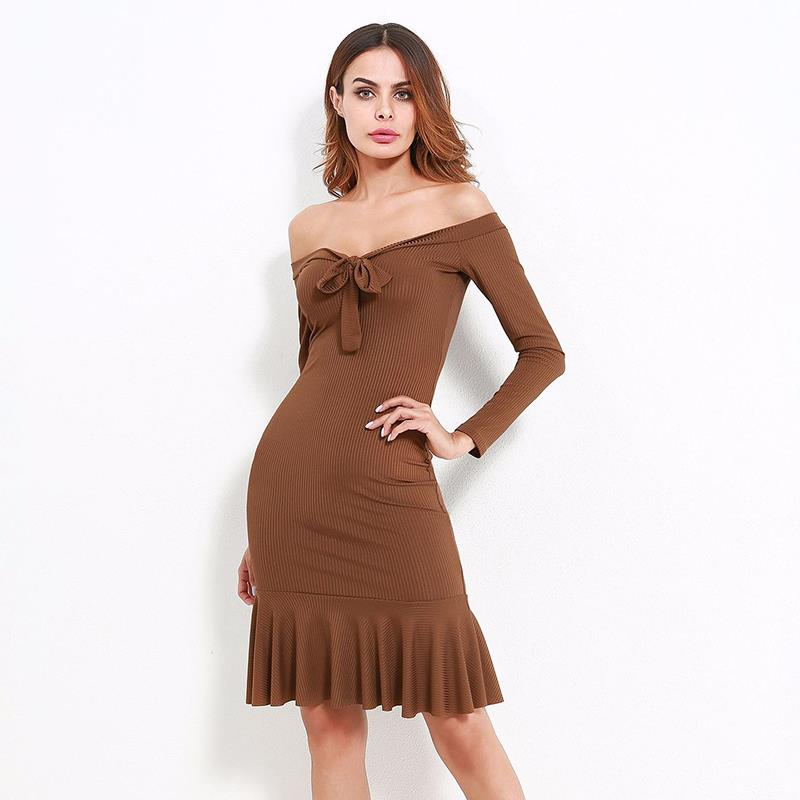 Women Off Shoulder Sexy Clubwear Long Sleeve Slim Bodycon Knitted Sweater Vestidos Knee Length Party Night
