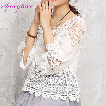 Spicylace Hollow out Lace Floral Summer Blouse Women Cotton Shirts Loose Long Sleeve Fashion Solid Tops