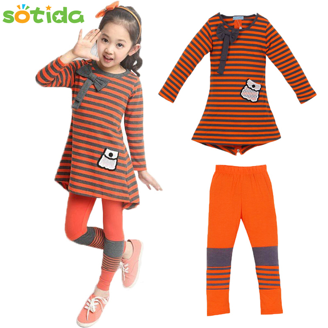 2016 Girls Autumn Clothing Set Fashion Europe America Children New Casual Kids Suit Winter Striped Long-Sleeved T-Shirt+Leggings