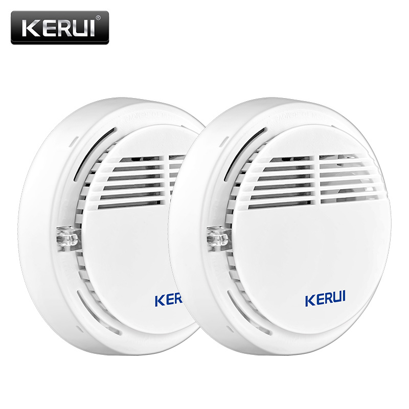 KERUI 2ps Wireless Alarm Security Smoke Fire Detector/Sensor For Home House Office GSM SMS Alarm Systems wireless smoke fire detector smoke alarm for touch keypad panel wifi gsm home security system without battery