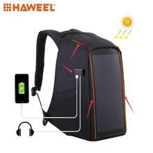 HAWEEL 12W Flexible Solar Panel Power Backpack Multi-function Anti-theft Bag with Handle and 6V 2.4A Dual USB Charging Port