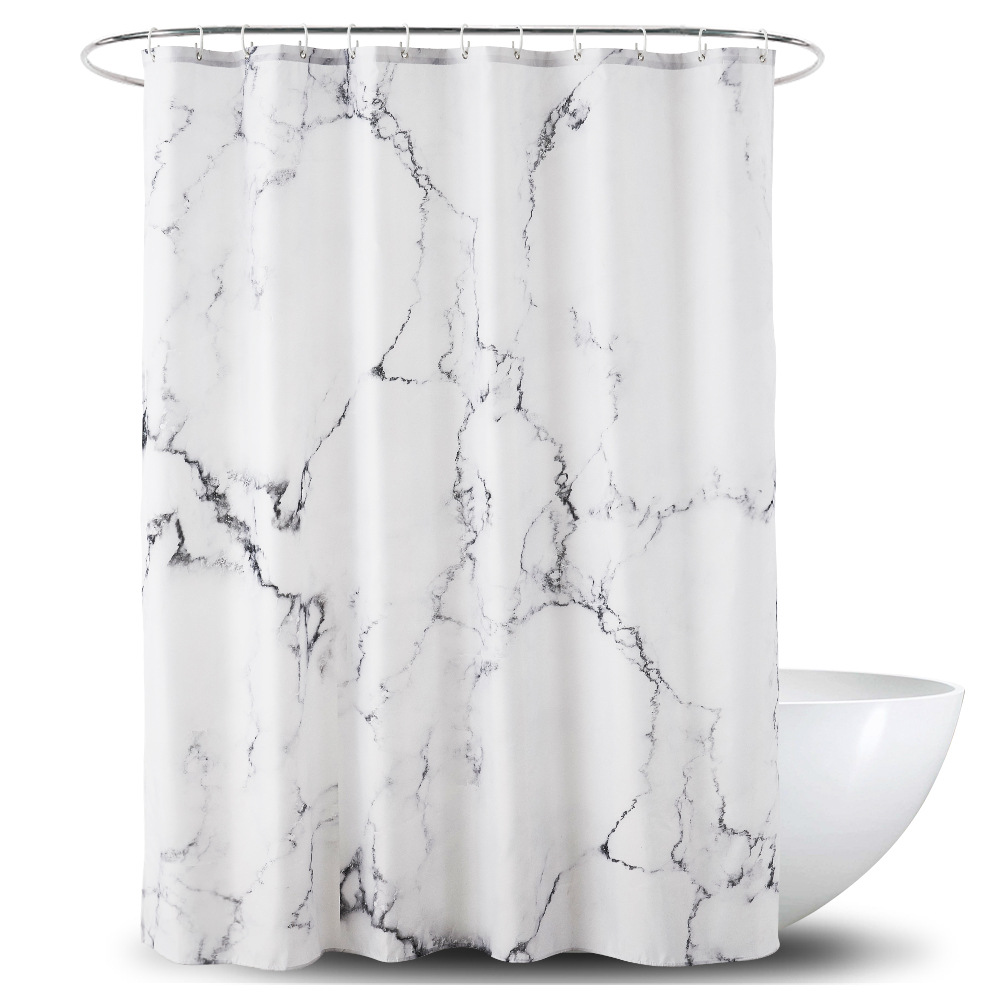Waterproof Marble Print Hazy Stripes Artistic Display Fabric Bath Shower Curtains Hotel Screens Protection Mold Proof Curtain In From Home