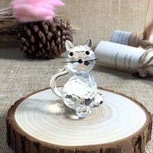 Bonito Cristal Gato Figurines Artesanato Animal Lindo Cristal Ornamento Enfeites de Mesa Para Casa Crianças Grandes Presentes de Casamento Casa Decora
