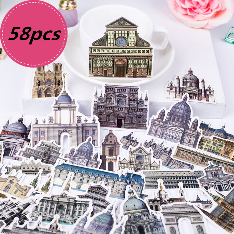 58pcs Creative Cute Self-made World Travel Various Countries Architecture DIY Craft Photo Albums Waterproof Scrapbooking