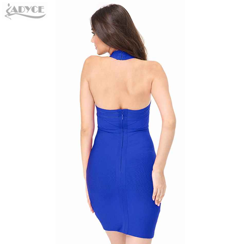 ADYCE 2019 nouveau moulante robe de pansement femmes piste robe de fête bleu rouge licou maille Club robe Sexy dame célébrité robe dos nu