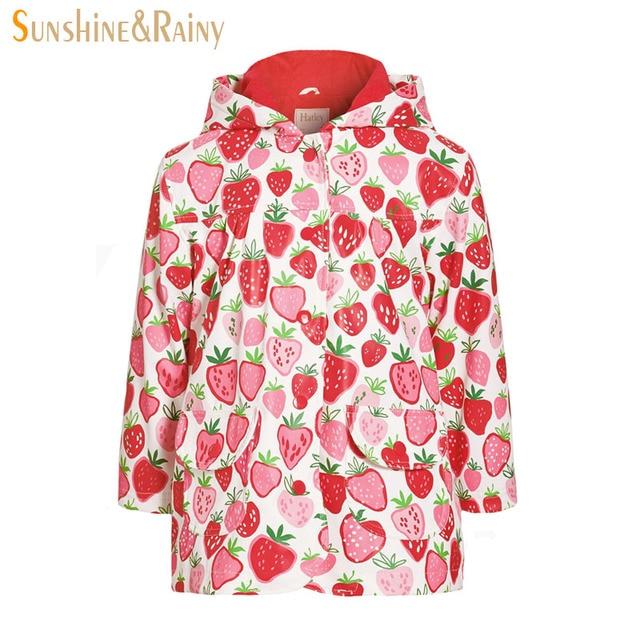 2017 Spring Girls Strawberry Print Jackets Coats Kids Fleece Windbreaker Warm Baby Girl Raincoat Children Waterproof Outerwear