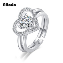 Ailodo 2 In 1 Heart Shaped Women Rings Rose Gold Silver Color 2 Pcs/Set Crystal Femme Rings Bijoux Fashion Jewelry Gift LD136 stylish 5 pcs set faux gem embossed rose rings for women