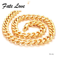 Fate Love Supplies New Jewelry Wholesale Copper Electroplate Overlord Gold-colour Male Hemp Flowers Shape Necklace 49.5cm