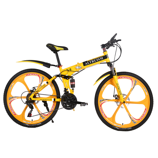 Altruism X9 26 inches bicycles Steel 24 speed Double shock absorption folding mountain bike Double disc bicycle