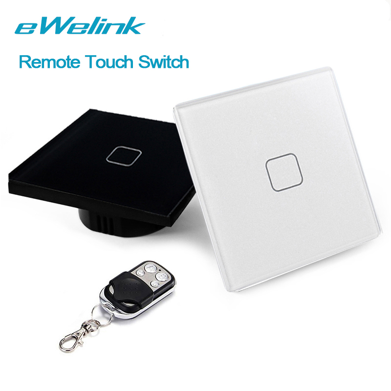 eWelink EU/UK Wireless Remote Control Light Switches, 1 Gang 1 Way RF433 Remote Switch, Wall Light Touch Switch, For Smart Home ewelink eu uk 1 gang 1 way wireless remote control light switches crystal glass panel touch switch rf433 remote wall switch