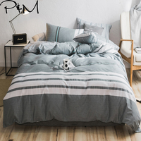 PAPA&MIMA Gray bedding sets combing cotton twin double queen size duvet cover set bed sheet Pillowcase stripe bedclothes set