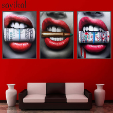 Prints Poster Wall Art Sexy Red Lips Bite Bullet Money Modern Pictures For Living Room Decor Street Graffiti Canvas painting