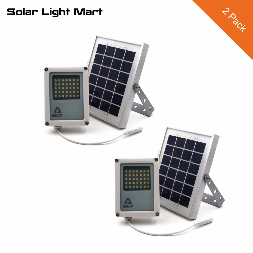 Solar Light Mart 2 Pack Mini Alpha 180X Waterproof Outdoor Automatic Solar LED Flood Light with 3 Power Modes for Garden Yard-in Solar Lamps from Lights & Lighting    1