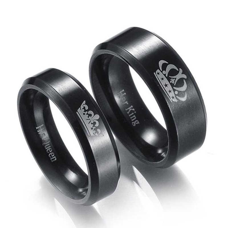 1 stück Edelstahl Crown Paar Ringe Schwarz König Und Königin DIY Gravierte Romantische Engagement Hochzeit Ringe Für Männer Frauen