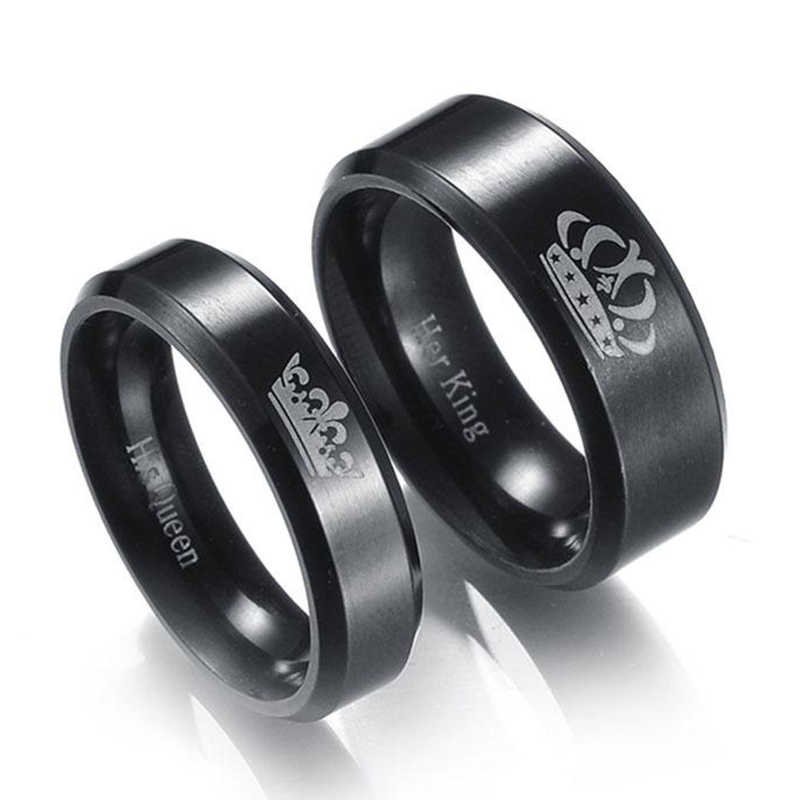 1Piece Stainless Steel Crown Couple Rings Black King And Queen DIY Engraved Romantic Engagement Wedding Rings For Men Women