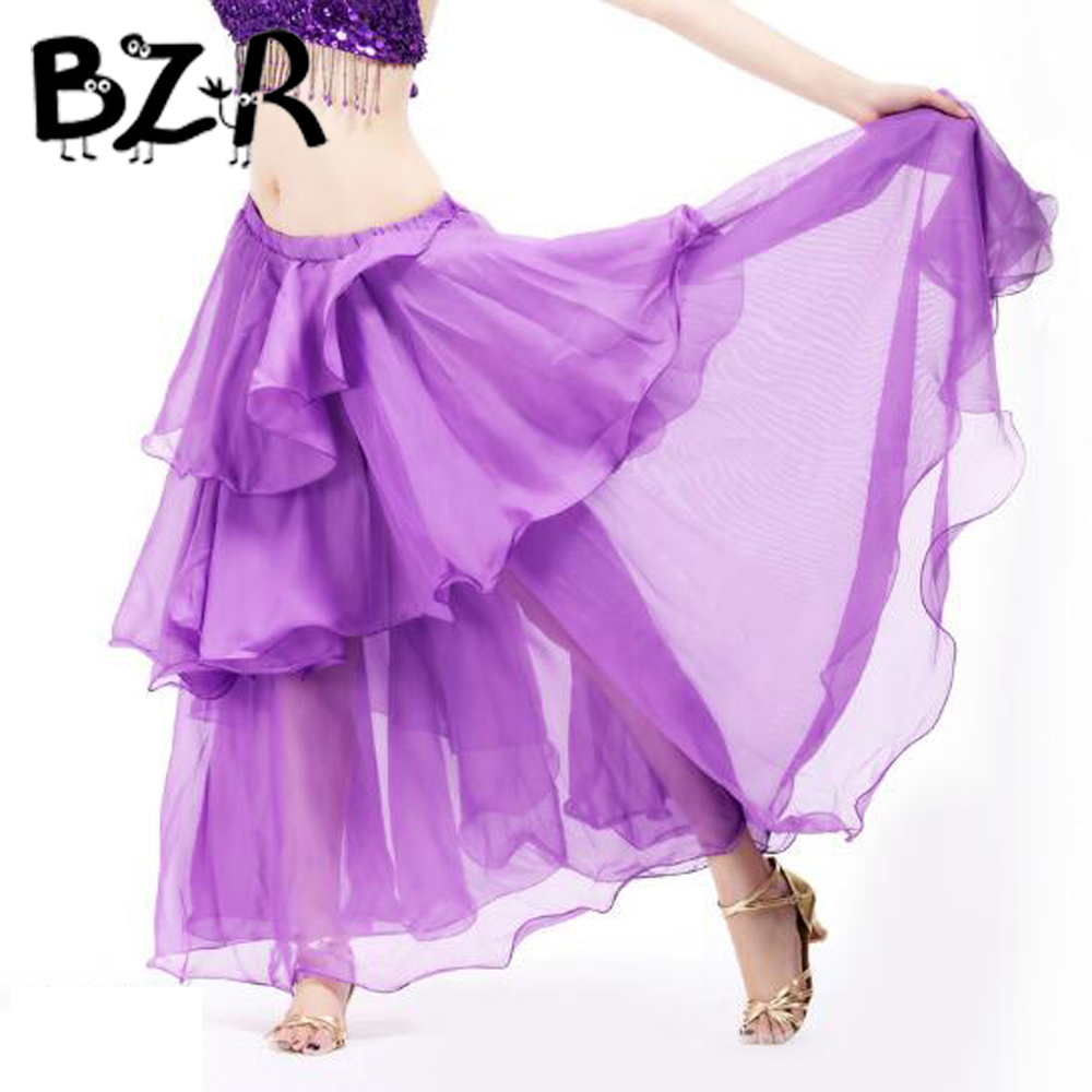 Bazzery Belly dance dancing wear clothes chiffon 3 rows cake chiffon skirt match skirt belly dance stage skirt