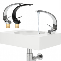 Elegant Crane Tap Washbasin Faucet Single Handle Single Hole Brass Chrome Bathroom Faucets Hot Cold Water Bathroom Fixture