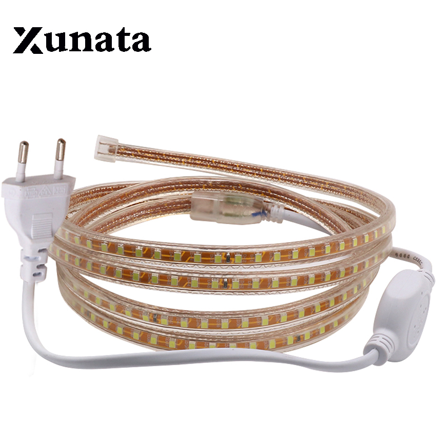 220V led tape SMD2835 120leds/M White/Warm white/Red/Blue/green/yellow led strip light rope ribbon with EU power plug clips