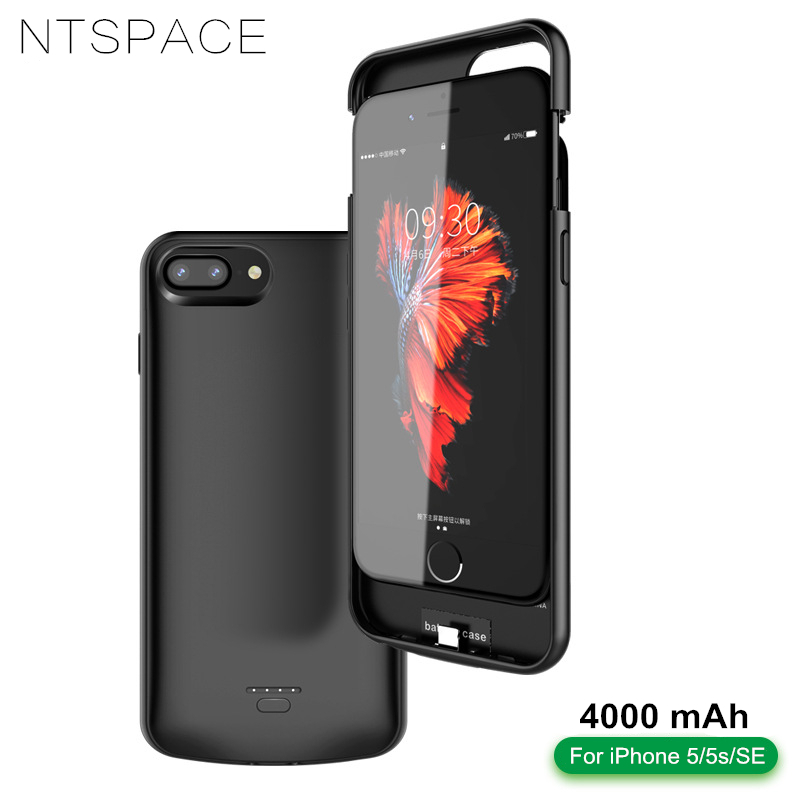 NTSPACE 4000mAh Battery Charger Case For iPhone 5 5s 5c SE Power Case Portable Backup Power Bank Black Blamp Battery Cover Case in Battery Charger Cases from Cellphones Telecommunications