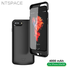 NTSPACE 4000mAh Battery Charger Case For iPhone 5 5s 5c SE Power Case Portable Backup Power Bank Black Blamp Battery Cover Case lson portable 4000mah solar power bank for iphone ipad golden black