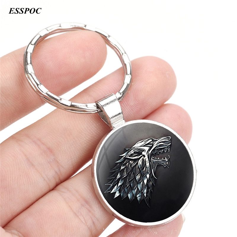 Friendship Gift Game of Thrones House Stark Keyrings A Song of Ice and Fire Jewelry Wolf Pendant Keychains Key Chains Rings серебряное колье ювелирное изделие np1521