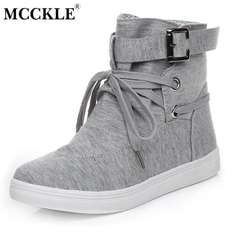 MCCKLE Female Flat Lace Up Buckle Canvas Autumn Style Ankle Boots 2017 Woman Fashion Platform Rubber Casual Comfortable Shoes front lace up casual ankle boots autumn vintage brown new booties flat genuine leather suede shoes round toe fall female fashion