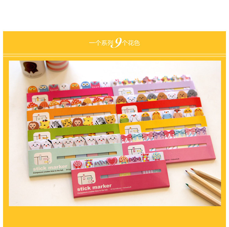 Mini Cute Kawaii Animals Candy Color Sticker memo pad Post It Note Paper bookmark for Kids Creative Gift korean papelaria