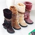 Botas de neve das mulheres de estilo nacional-pesado de fundo botas morno com pele bola ornamento lado rendas até sapatos casuais botas feminino DT673