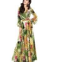 Women Summer V Neck Long Sleeve Floral Printed Long Maxi Party Dress Vestidos Mujer Verano 2017