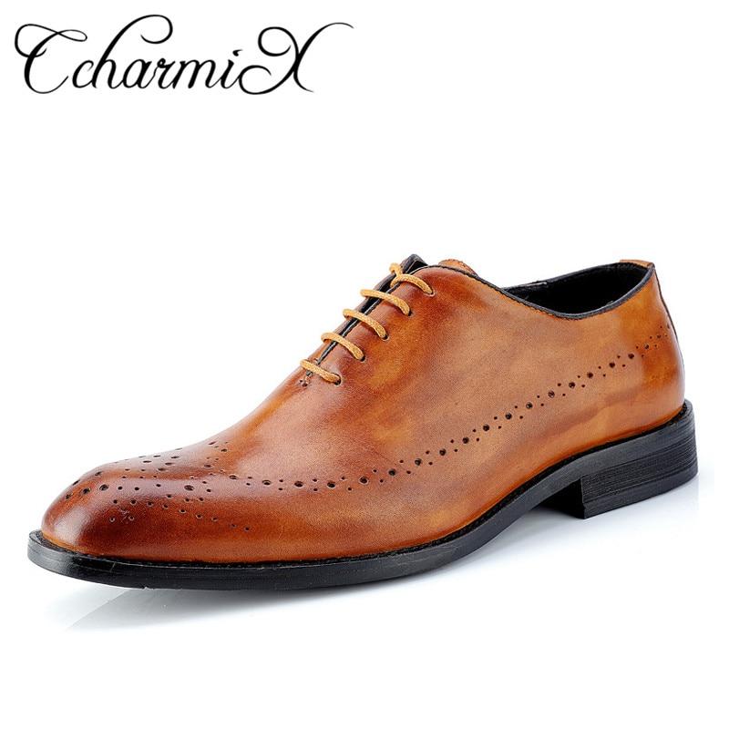 CcharmiX Mens Dress Shoes Genuine Leather Men Shoes Lace Up Party Wedding Mens Oxfords Luxury brand
