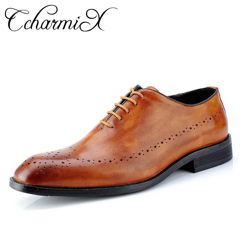 Ccharmix Mens Dress Shoes Genuine Leather Men Shoes Lace Up Party Wedding Mens Oxfords Luxury Brand Brogue Carved Shoes Big Size In Formal Shoes From