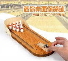 Children Wooden Mini desktop bowling game toys parent Kids interactive desk ball games for classic wooden