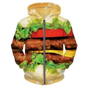 Burger Zipper Hoodie Hamburger 3D Print Sweatshirts Men Tops Autumn Winter Outfits Coats Fashion Clothing Sweats Tops For Unisex(Hong Kong,China)