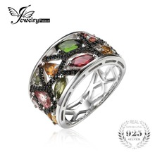 Jewelrypalace 2.3ct de halloween multicolor turmalina genuino negro espinela cocktail anillo de plata de ley 925