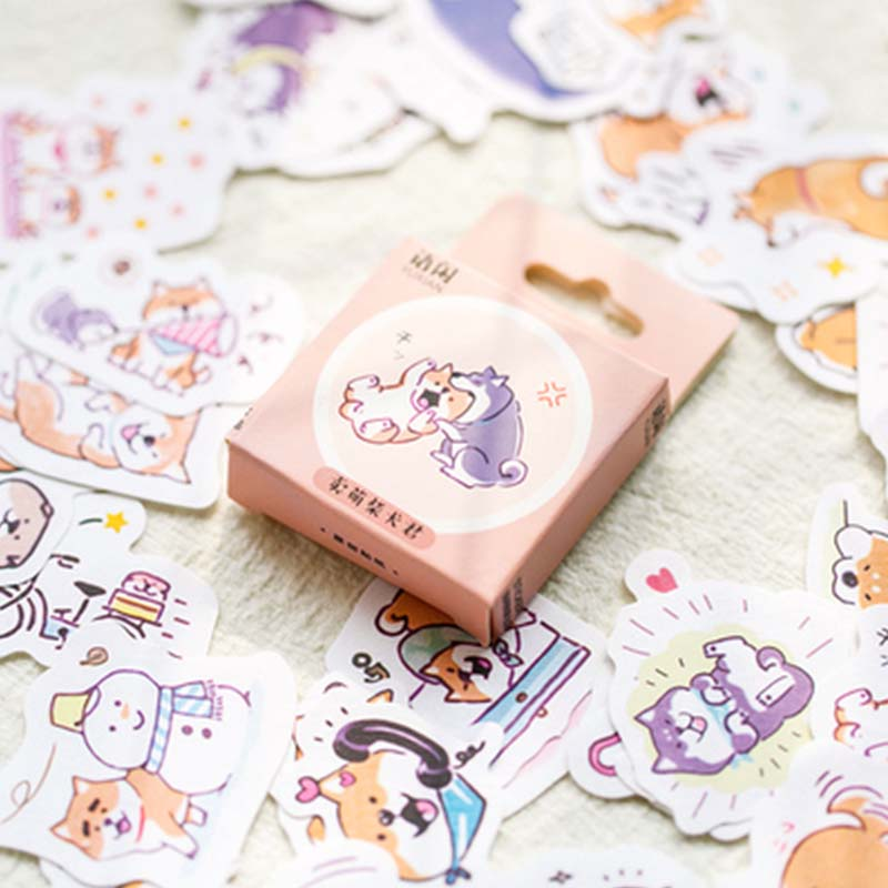 50 Pcs/pack Shiba Dog Decorative Stickers Cute Adhesive Journal DIY Stickers Diary Label Scrapbooking Sticker School Supplies