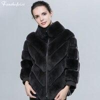 Fanshefeier women's bat sleeve natural Fur Jacket Outerwear with natural rabbit Fur For women real Rex rabbit Fur animals Coat