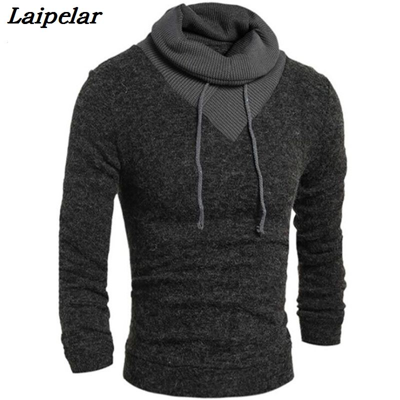 Sweater Pullover Men  Male Brand Casual Slim Sweaters Classic High Collar Simple Solid Color Men Sweater Laipelar