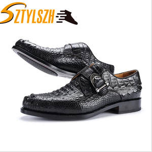 Shoes Wedding-Party-Shoes Alligator-Skin Brown Male Black Real for Man