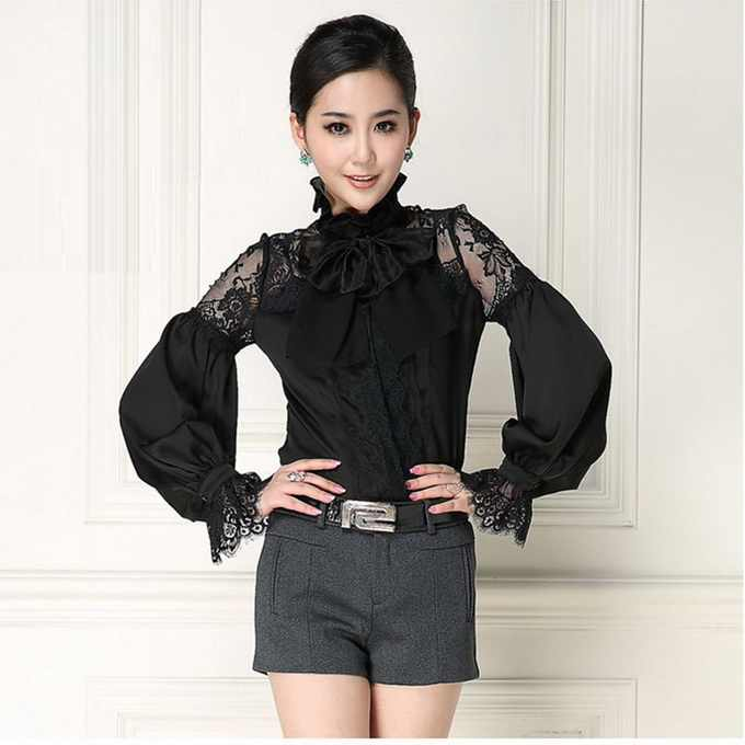a5d5ddcccbb70a New Arrival Women Blouses Sexy Sheer Lace Patchwork Elegant Bow Collar Long  Sleeve ...