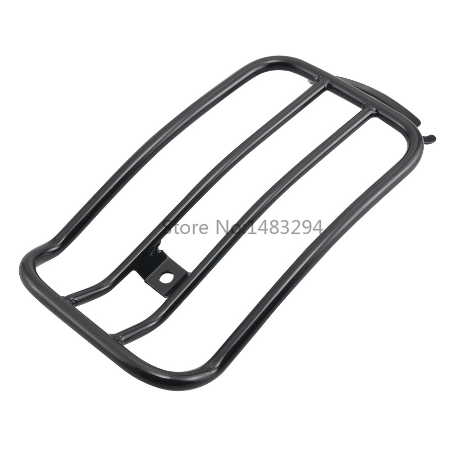 Black Steel Rear Luggage Rack Shelf Tail Frame Carrier Bolt Solo Seat Fits For Harley FLHT
