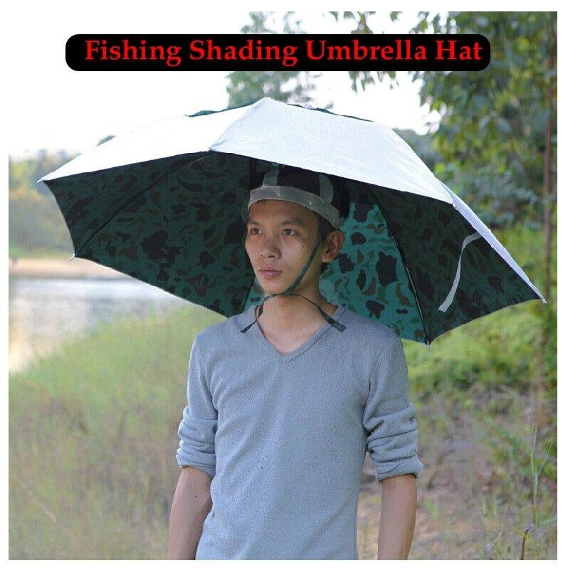1 Piece Camouflage Three Folding Large Fishing Cap Shading Sun-proof Fish Umbrella  Hat Outdoor Sports Wear Open Diameter 100cm 48eaff2a350