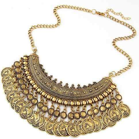 Fashion Statement Necklace Jewelry Choker Collares Maxi Collier Femme Necklaces Women Tribal Coin Tassels Necklaces & Pendants