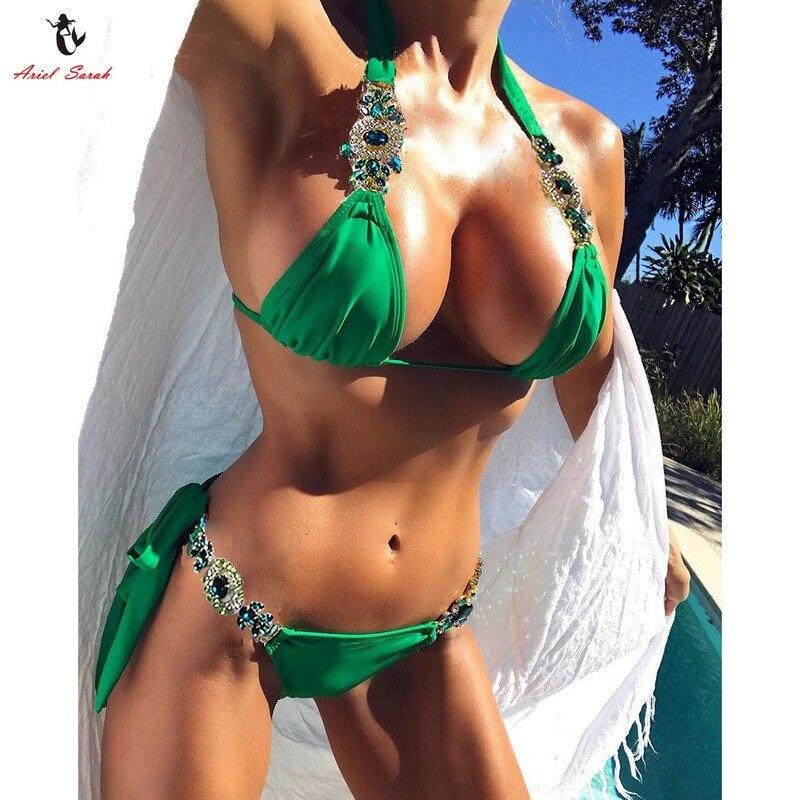 Ariel Sarah 2018 Crystal Bikini Sexy Swimwear Swimsuit Bandage Bathing Suit Women Bikini Set Hot Beach Wear Green Stone Bikini