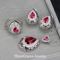 Vintage Water Drop Women Party Accessories 925 Sterling Silver Created Diamond Jewelry Set With Ruby Red Austrian Crystal JS196