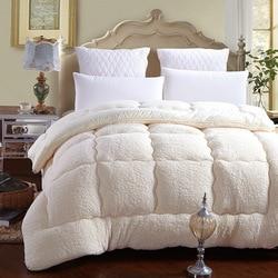 Зимнее лоскутное пуховое одеяло из овечьей шерсти, теплое стеганое одеяло из верблюжьего хлопка, утепленное одеяло, размер king queen, один двой...