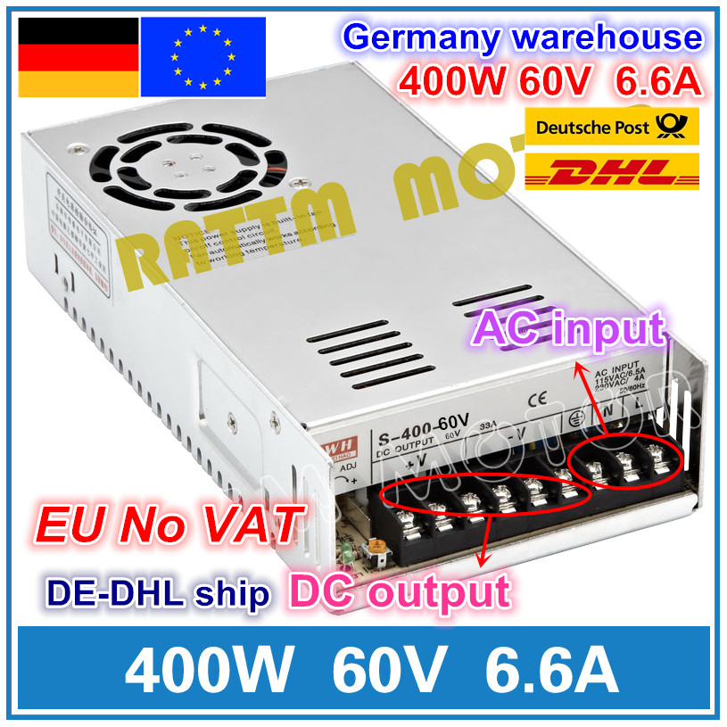 400W 60V Switch DC Power supply S-400-60  6.6A Single Output for CNC Router Foaming Mill Cut Laser Engraver Plasma400W 60V Switch DC Power supply S-400-60  6.6A Single Output for CNC Router Foaming Mill Cut Laser Engraver Plasma