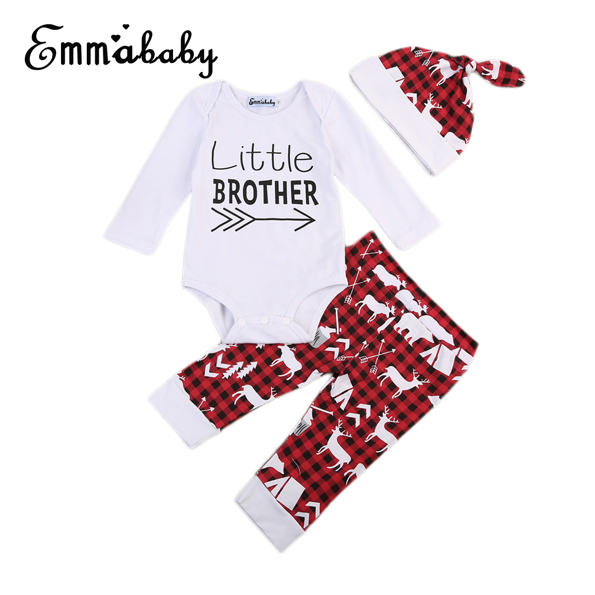 Babies Romper Long Sleeve Little Brother Baby Boy Outfits Clothes Newborn Romper Pants Hat 3pcs Set