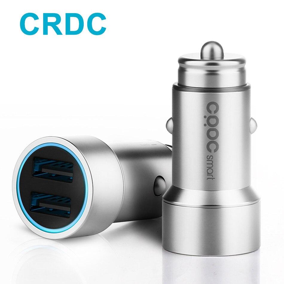 CRDC 3.4A Double USB Chargeur De Voiture Universel Métal Rapide Voiture-Chargeur Avec LED halo pour Xiaomi iPhone 7 Samsung s8 LG G5 HTC et Tablet PC