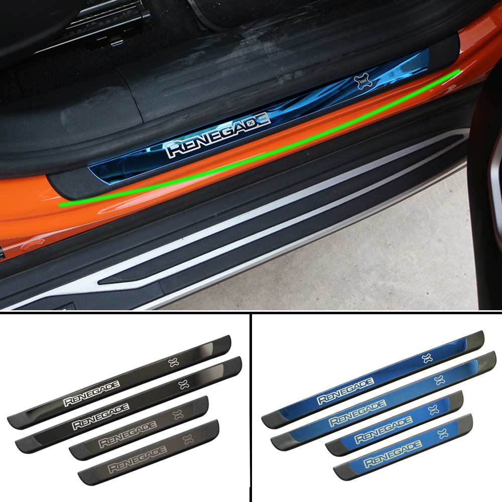 Car Door Sill Scuff Plate For Jeep Renegade 2015-2018 Protector Entry Guard Cover External Car Door Threshold Decoration Trim